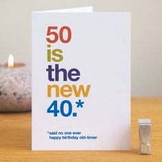50 Is The New 40 Funny 50th Birthday Card