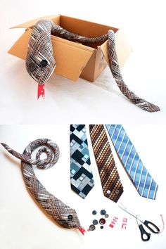 DIY recycled tie snake for kids, who knew the humble tie could make such a cute childhood companion?!