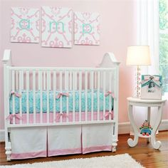 Aqua Damask 3-Piece Crib Bedding Set by New Arrivals Inc., Crib Bedding Sets,Personalized Items, Bedding for Girls