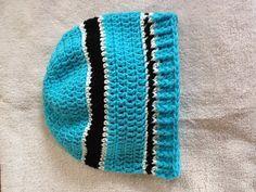 Carolina Panther influence crocheted hat.
