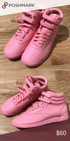 295730632470b3 Freestyle Reebok Pink High Tops Super cute pink shoes perfect for spring!  There s nothing wrong with them