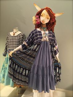 L/XL Navy Blue Recycled Shirt Dress-Print Mix Kimono Dress - Cotton Tunic Dress-Asian Junk Gypsy Free People Style-Sz: Large-Extra Large