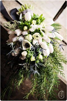 Venue Feature : A Winter White Anemone & Evergreen Bridal Bouquet at Holly Hedge…