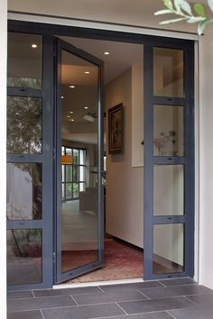 New Modern Glass Front Door Entrance House Ideas Front Door Entrance, Door Entryway, Exterior Front Doors, House Front Door, House Doors, House Entrance, Modern Entrance Door, Entrance Ideas, Contemporary Front Doors
