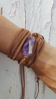 Boho wrap bracelet. Gemstone wrap bracelet. Gemstone bracelet. Nugget bracelet. Amethyst bracelet. Statement bracelet. Cuff bracelet.