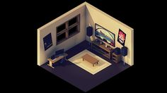 Low Poly Room 2.0 on Behance