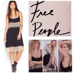"""Free People High Low Crochet Trim Slip Dress. NWT. Free People Black High Low Crochet Lace Trim Slip Dress, 100% rayon, machine washable, 19"""" armpit to armpit (38"""" all around), 44"""" front length measured from top of straps, 47"""" back length measured from top of straps, 38"""" length from neckline to longest back length, unlined, fabric bodice overlay, gauzy fabric, measurements are approx.  No PayPal...No Trades... Free People Dresses Midi"""