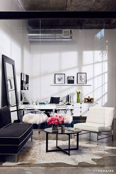 Luxe industrial office space with feminine touches