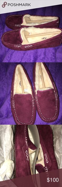 NIB Ugg Ansley Brand new mahogany Ugg Ansley Moccasins. Must sell. Got these for my mom for Christmas but they are to big. They are still in the box and have never been worn. I've had a 2nd stroke and need some extra money. Price is negotiable. UGG Shoes Moccasins