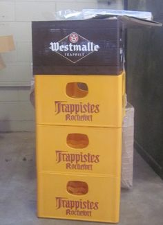 Friday the 13th, what? Some days, even today, you just get lucky. I was driving along the road and saw a guy leaving a wine shop with an empty Westmalle crate. Being the Belgian beer lover I am I stopped and rushed into the shop to find they have an excess of all sorts of plastic crates and happily give them away. Perfect for storing my brews and a little inspiration to help me brew better. Oh happy day.