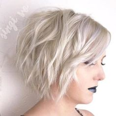 Platinum Blonde Layered Wavy Bob #PlatinumBlondeBob