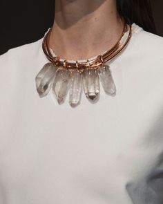 Copper & crystal statement necklace, runway jewellery // Cedric Charlier Spring 2015