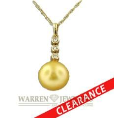 Golden Pearl and Diamond Necklace with diamond accents!!
