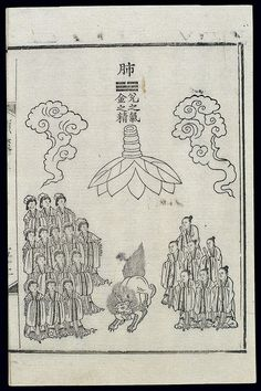 The text says: Lung: Qi of dui(Lake), essence of Metal. Its colour is white. It looks like a suspended rock. Its spirit has the form of a white beast. Lung engenders the po soul, which is transformed into a Jade Child. It is 7cuntall (1cun[Chinese/proportional inch] = c. 3 cm). It wears a plain garment and holds a martial rod, and goes in and out of the mansion of the lung. The lung is sometimes said to have seven children and 14 jade women guarding it.