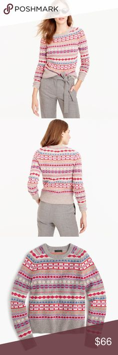 J. Crew Holly Sweater Fair Isles Size Medium Worn just 1x This beautiful sweater is all about style and comfort. Sweater is sold out online & in store. Size is a Medium.  -Wool -Rib Trim at Cuff, Neck & Hem. J. Crew Sweaters