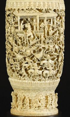 Intricate Ivory carving of the Eight Immortals Crossing the Sea, part of the Grice Ivories Collection © Museums Sheffield. Chinese Culture, Chinese Art, Bone Carving, Chinoiserie, Asian Art, Japanese Art, Handicraft, Horns, Amazing Art