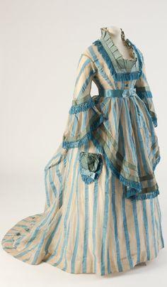 Blue striped cotton gauze day dress, 1874. Fashion Museum Bath, via @Fashion_Museum on Twitter.