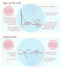 Relaxation Poses. Props to assist viparita karani & savasana.
