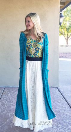 Gorgeous LuLaRoe outfit! Classic tee, Lucy skirt, and Sarah cardigan. Click to shop LuLaRoe!