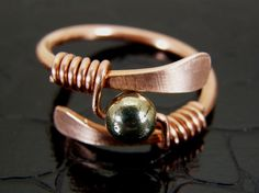 Hammered Copper & Pyrite Ring Hand Crafted. $14.00, via Etsy.