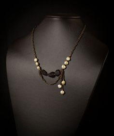 Black Spinel and Ivory Pearls Necklace by HutaPearlJewelry on Etsy