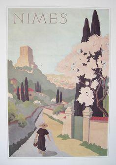 illustration : affiche de tourisme, Nimes, Provence, 1934, R. Petit