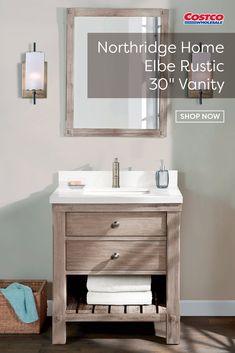 Elbe Rustic Vanity Single Sink Vanity by Northridge Home Small Space Bathroom, Small Bathroom Vanities, Bathroom Design Small, Small Vintage Bathroom, Small Rustic Bathrooms, Diy Bathroom Vanity, Bathroom Sink Faucets, Bath Vanities, Sinks