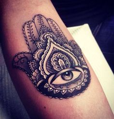 Perfectly designed piece of #Hamsa #tattoos for men in the #form of a lotus. This #tattoo appears as a real eye at the bottom of the #flower of perfection. Its #realistic eye #design and outer design aim at one's protection from any outward force by their #sovereign being.
