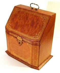 Vintage Italian Gilt Embossed Leather Letter Box, c.1940. www. rubylane.com