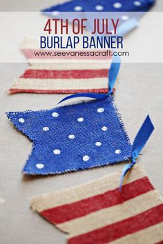 4th of July Red, White & Blue Painted Burlap Banner