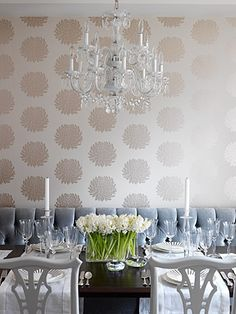 Neutral wallpaper, white glossy xhairs(but I'd like a glossy table instead. Chandelier. Dusty blue chair