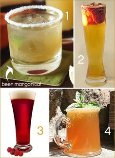 OMG amazing. BEER COCKTAILS! 1) Beergarita 2) Strawberry Panach 3)Chambeer 4) Basil Shandy