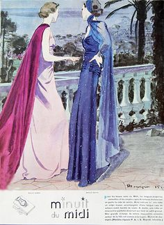 1930s advertisement for Maggy Rouff evening gowns and capes.