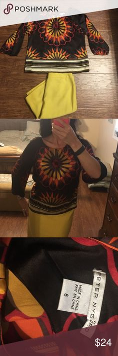 Silk colorful blouse top Beautiful colorful top with Rich hues of orange burgundy mustard and brown. Perfect for the fall very flattering. A belt can be added if desired to give it a more tailored look. Size 8 peter nygard Tops Blouses