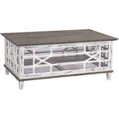 Create an atmosphere of casual elegance with the Jolie Farmhouse Coffee Table. A beautiful piece with a rubbed waterfront gray finish on its glass and fretwork base, it features neutral driftwood accents. Shop Farmhouse Chic coffee tables now. French Country Coffee Table, French Country Furniture, Iron Furniture, Furniture Decor, Painted Furniture, Shadow Box Coffee Table, Painted Coffee Tables, Rustic Irons, Coastal Cottage