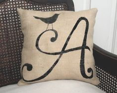 Bird Letter Custom Monogram Pillow - Burlap Feed Sack Pillow via Etsy Monogram Pillows, Personalized Pillows, Burlap Pillows, Decorative Pillows, Throw Pillows, Letter Pillow, Letter Monogram, Monogram Design, Craft Ideas
