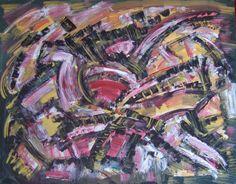 Jacques Chevalier (1924-1999) / Composition noire jaune et fuschia / Gouache sur papier / Cachet de l'atelier / 50 x 65 cm