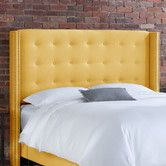 House of Hampton Hayworth Tufted Upholstered Wingback Headboard Size: Queen, Upholstery: French Yellow Yellow Headboard, Wingback Headboard, Queen Headboard, Panel Headboard, Diy Headboards, Contemporary Headboards, Comfy Blankets, Adjustable Beds, My Living Room
