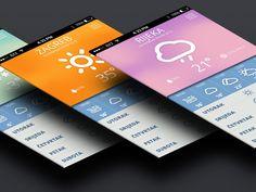 Weather app design found on Dribbble.