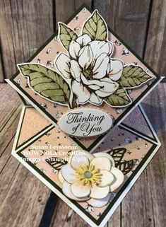Stampin& Up! Good Morning Magnolia Diamond Easel Fold - Create Something Bea. Stampin& Up! Good Morning Magnolia Diamond Easel Fold – Create Something Beautiful! Easel Cards, 3d Cards, Pop Up Cards, Fun Fold Cards, Folded Cards, Step Cards, Shaped Cards, Stamping Up Cards, Card Tutorials