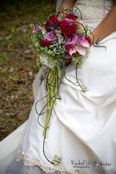 Rustic brides cascade bouquet of Asheville wedding flowers,  rich romance colors with soft green & natural elements by Janet Frye AIFD