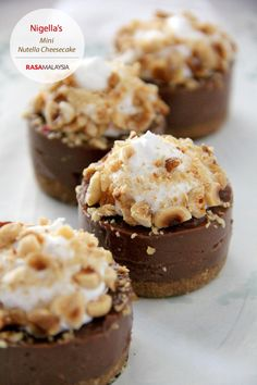 Mini Nutella Cheesecake recipe, they are to-die-for!  http://rasamalaysia.com