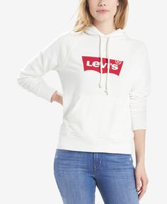 Levi's Batwing Logo Hoodie - White S Levis, Sports Hoodies, Dress With Sneakers, White Hoodie, Baby Clothes Shops, Trendy Plus Size, Hooded Jacket, Pullover, Casual