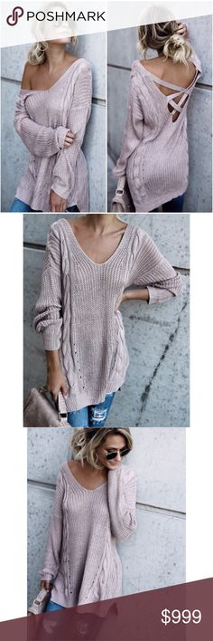 """Madison Cable Knit Sweater in Mauve **Please note: This item ships 11/7/17.** The trendy and criss cross detailing on the back makes this sweater so unique in this mauve hue! The wide neck, relaxed fit and soft texture of this sweater makes it super comfortable & easy to sport all day long!  Criss Cross Back Cable Knit Weave Size Small: 31"""" from shoulder to hem 50% Acrylic & 50% Polyester Model is 5'7"""" and wears a Small A Mermaid's Epiphany Sweaters"""