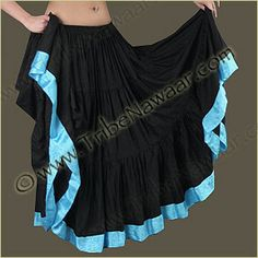 Tribe Nawaar Light Blue Ribbon Trim Skirt For Tribal Belly Dance
