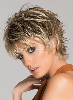 Women's Short Wigs Flaxen Deep Wave Curly Full Wigs - Milanoo.com