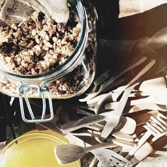 """This exotic blend of summer crisp.. """"Home made organic granola by Gabri"""". Made with dried peach and coconut. Ooh and they will be packed and sold at La Saracina in near future! #breakfast #lasaracina"""
