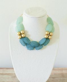 Mint Gold and Teal Double Strand Statement Necklace by ShopNestled