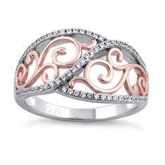 Top of ring height: 11.7mm  Band width: 3.9mm  Shank width: 2.1mm   Stone material: clear cubic zirconia  Stone shape: round  Total number of CZ stones: 65  Stone setting: pave setting   Metal: 925 sterling silver  Plating: 14k rose gold & rhodium plated  Finish: high polish Bali Jewelry, Dreamland Jewelry, Rose Gold Plates, Beautiful Rings, Sterling Silver Rings, Vines, Plating, Jewelry Design, Cz Stones