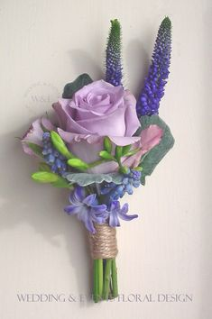 for mothers corsages: this general shape. roses? Ocean Song Buttonhole with Veronica, Freesia & Hyacinth by Wedding & Events Floral Design www.weddingandevents.co.uk